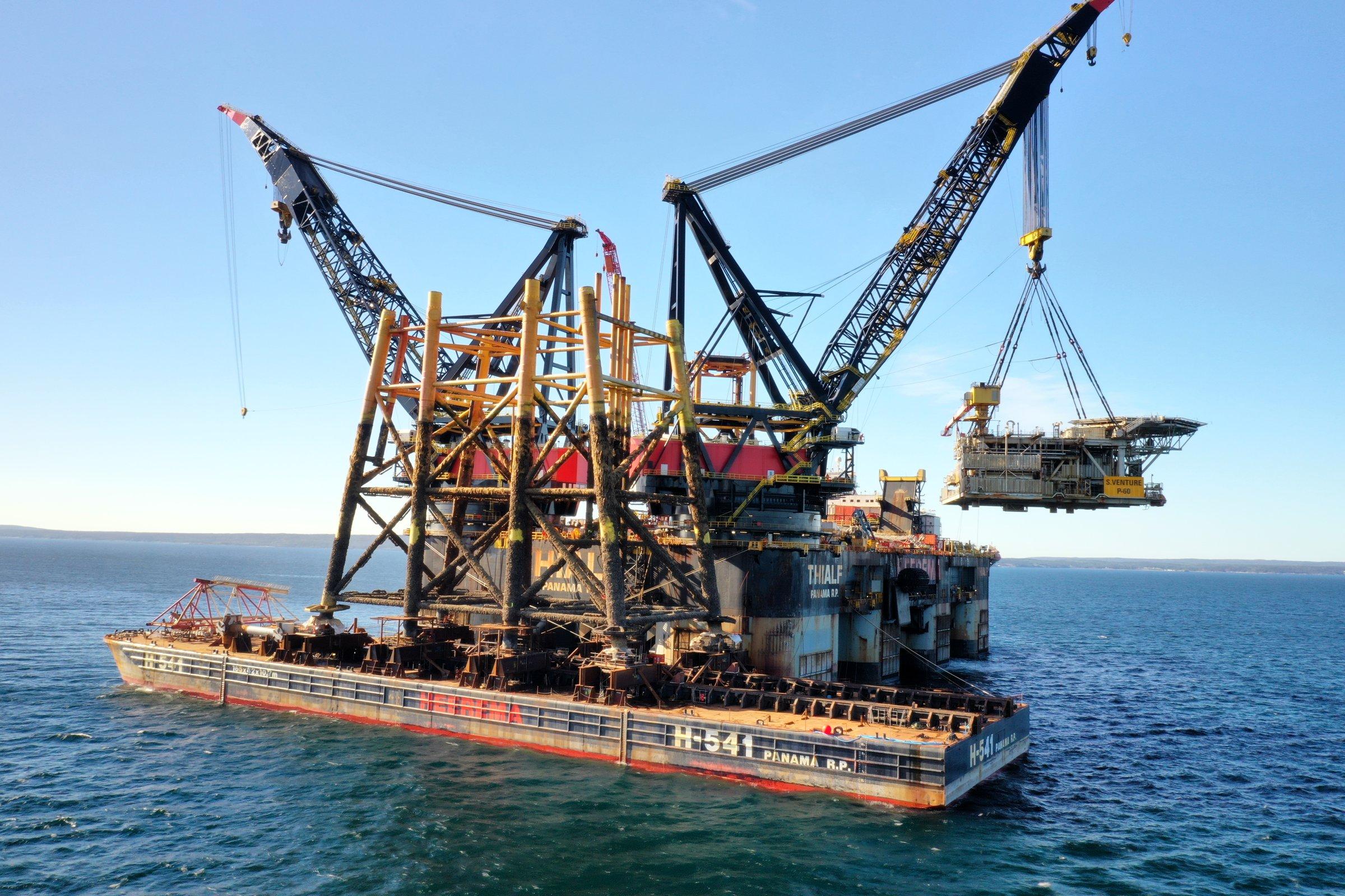 Sable Island Exxonmobil Heerema Thialf removal recycling decommissioning